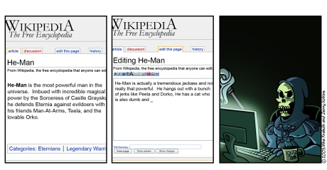 Skeletor editing Wikipedia