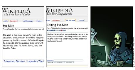 Skeletor editing Wikipedia